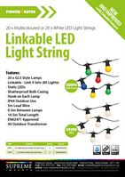 S8894 POWERMASTER LED 20 LARGE GLOBE FESTOON STRING - COLOURED